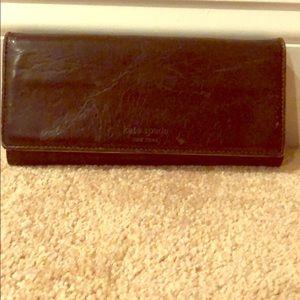 Kate spade dark brown leather wallet